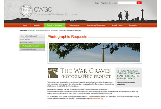 [image] Photographic Request page on CWGC site