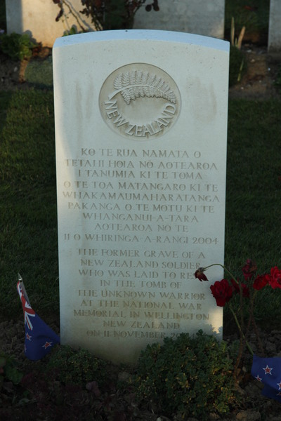 The NZ Unknown Soldier in Caterpillar Valley Cemetery.