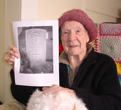 Bella Watson aged 99 recieving a picture of her Fathers grave from WW1